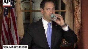 Sen. Marco Rubio takes a sip of water