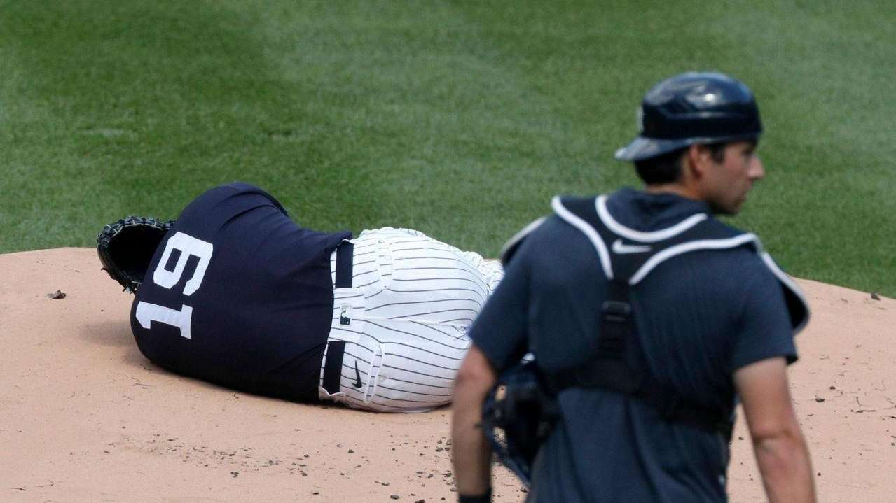 Yankees pitcher Masahrio Tanaka was hit by a