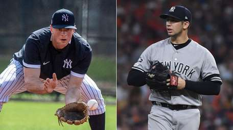 Yankees second baseman DJ LeMahieu (left) and righty