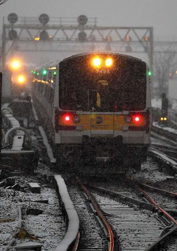 Trains enter the Jamaica LIRR station. (Feb. 8,