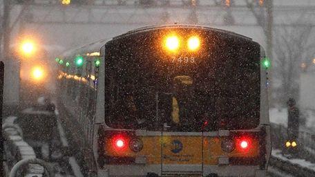 Trains enter the Jamaica LIRR station. (Feb. 8,