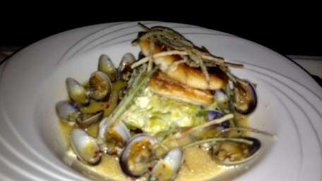 Pan-seared red snapper is boosted by leeks and