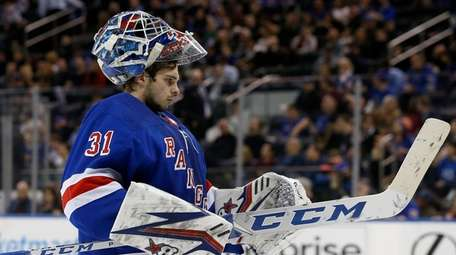 Igor Shesterkin #31 of the Rangers looks on