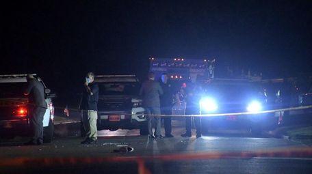 The Nassau County police investigate scene of a