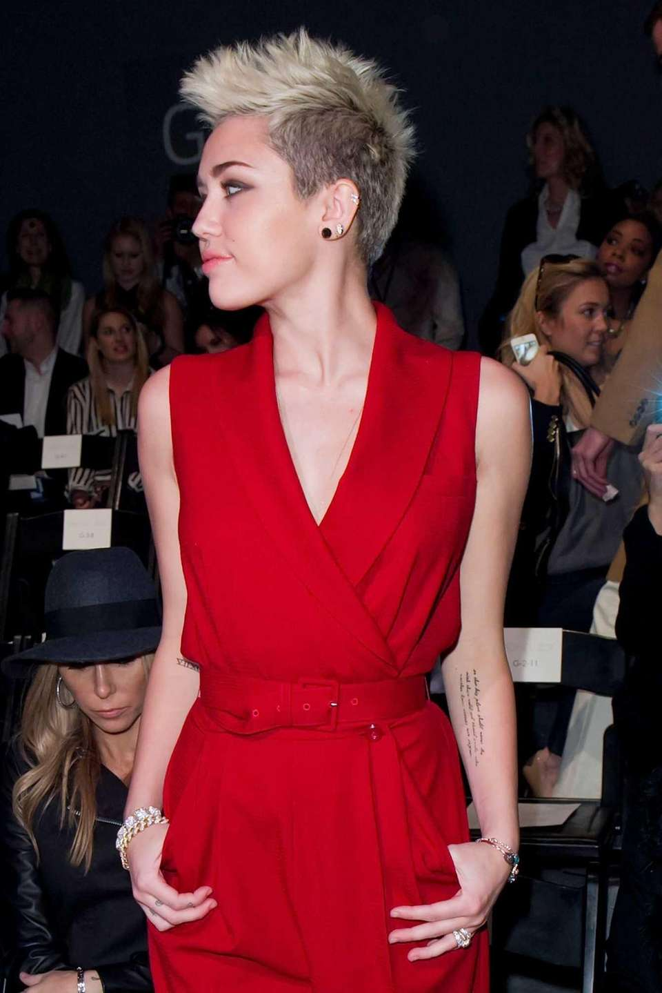 Miley Cyrus attends the Fall 2013 Rachel Zoe