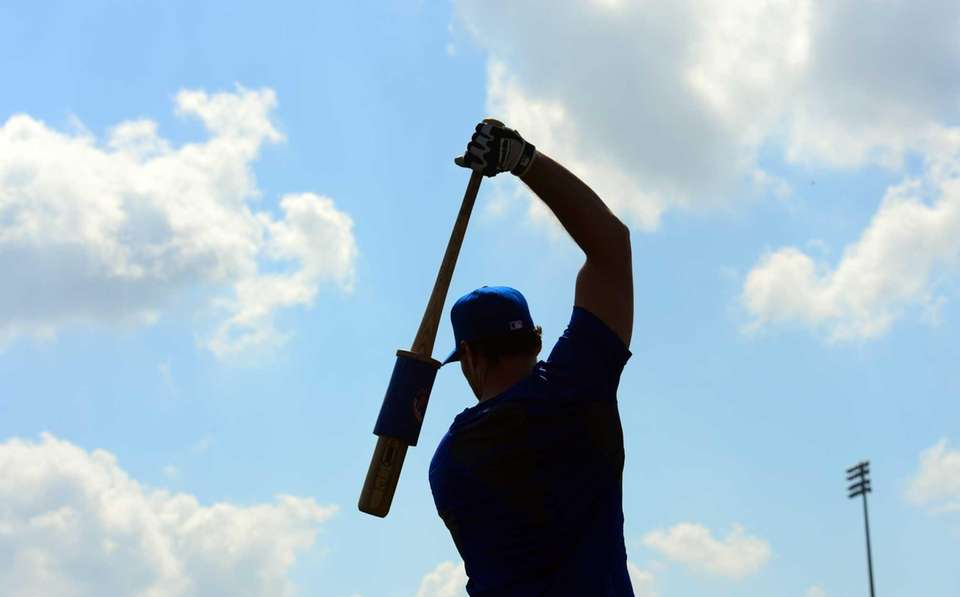 Daniel Murphy gets ready for batting practice during