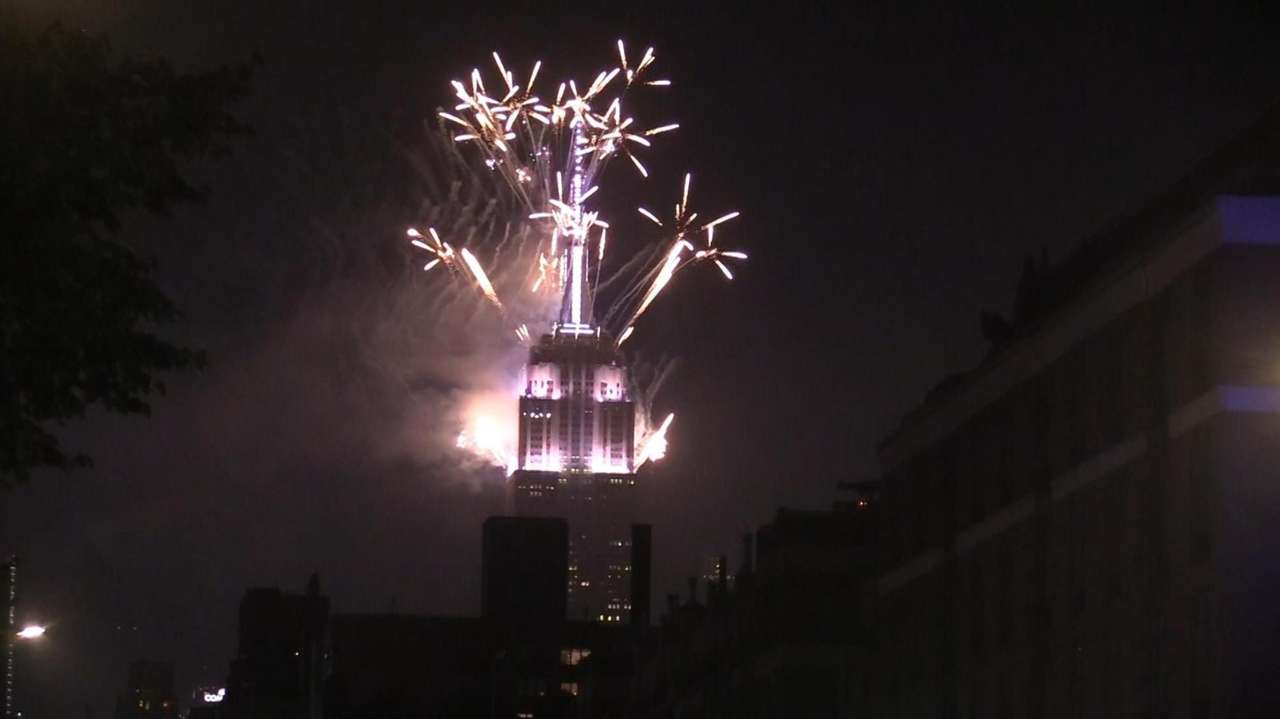 Fireworks went off from the top of the