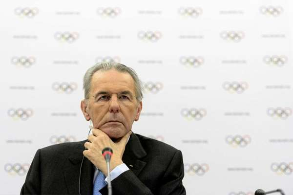 IOC President Jacques Rogge attends a press conference
