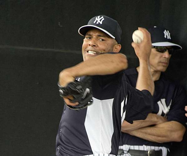 Mariano Rivera delivers a pitch during a spring