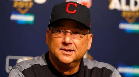 Indians manager Terry Francona speaks to the media