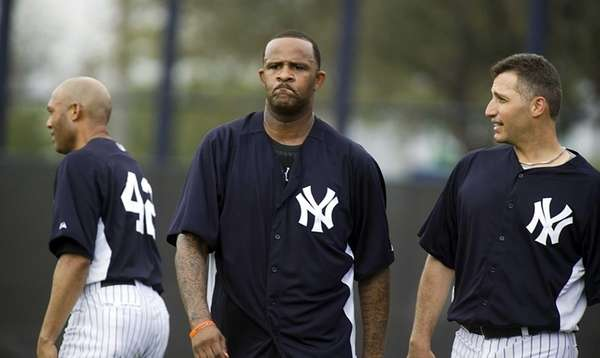 From left, Yankees pitchers Mariano Rivera, CC Sabathia