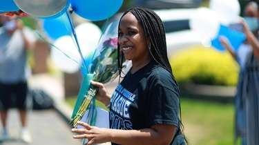Copiague varsity basketball player Amaya Williams was treated to a drive-by