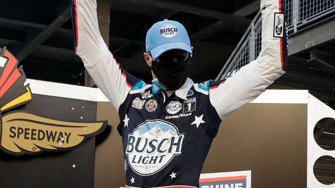 Kevin Harvick celebrates after winning the NASCAR Cup