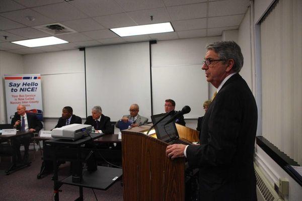 Mike Setzer, Nice Bus Violia CEO, speaks as