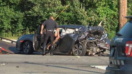 Town of Southold police investigate a crash on