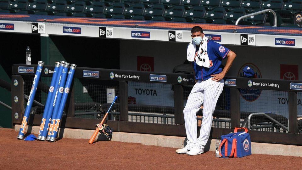 New York Mets relief pitcher Dellin Betances looks