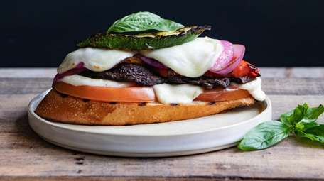 Vegetable stacks: Grilled Vegetables layered with fresh mozzarella