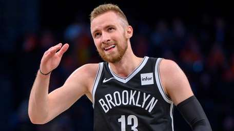 The Nets' Dzanan Musa reacts after a three-pointer