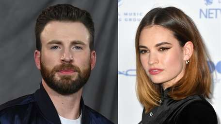 Actors Chris Evans and Lily James, seen in