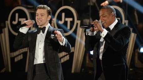 Justin Timberlake and Jay-Z perform their new single,