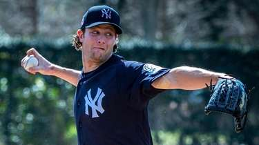 Yankees pitcher Gerrit Cole pitches during live batting