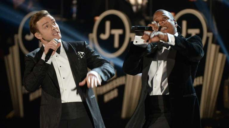 Justin Timberlake and Jay-Z perform at the Staples
