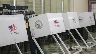 Voting booths at West Babylon Junior High School