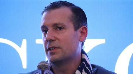 NYCFC CEO Brad Sims speaks at a fan