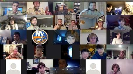 Members and leaders of Boy Scout Troop 12,