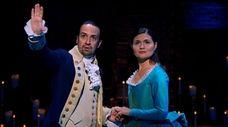 Lin-Manuel Miranda and Phillipa Soo play Alexander Hamilton