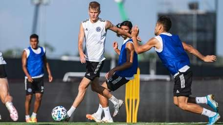 NYCFC midfielder Keaton Parks plays the ball during