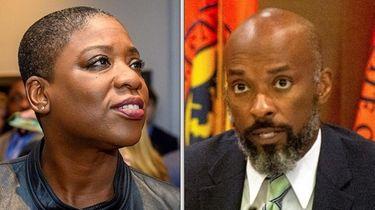 Nassau County legislators Siela Bynoe and Kevan Abrahams