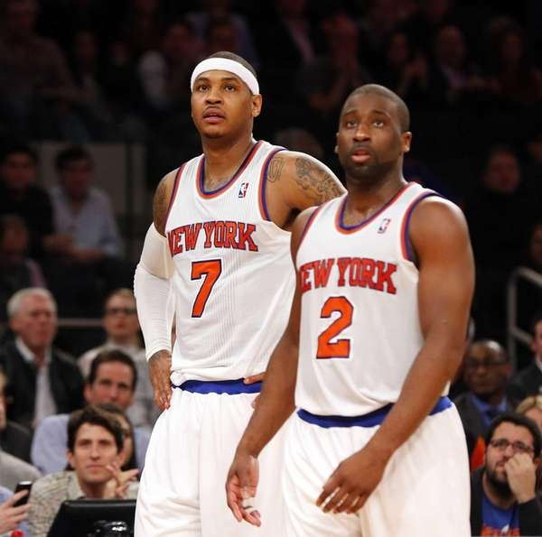 Carmelo Anthony and Raymond Felton of the Knicks