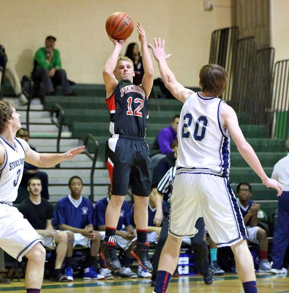 Pierson's Joey Butts, takes the outside jump shot