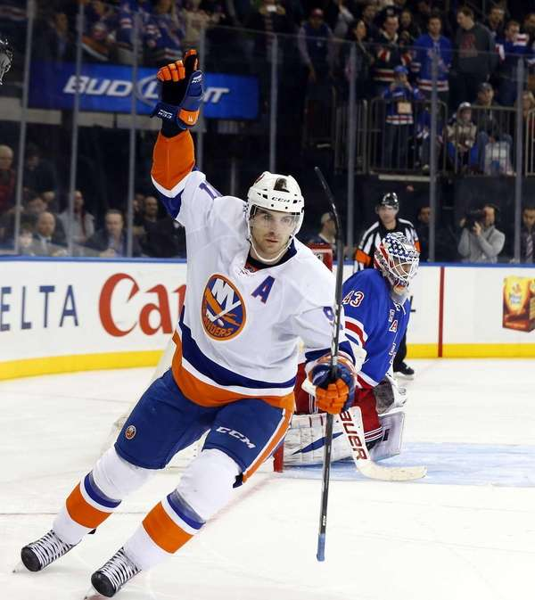 John Tavares of the Islanders celebrates his game