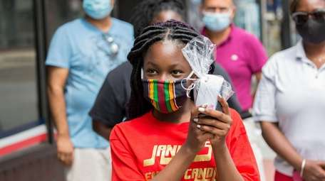 Janiah Sykes of Uniondale, 11, speaks about her