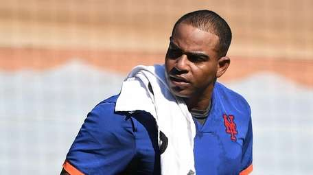Mets' Yoenis Cespedes looks on during an MLB