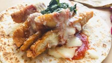 A chicken parm taco at Tony's Tacos, a