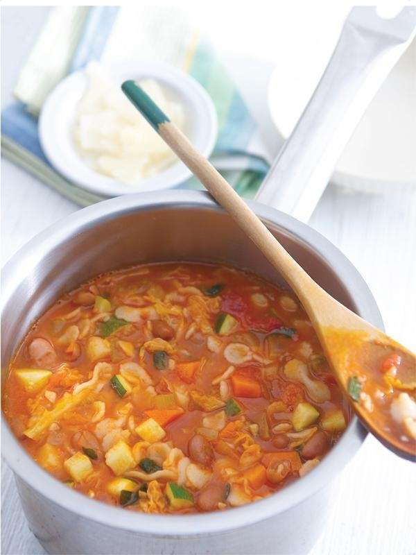 The minestrone with pasta recipe can be found