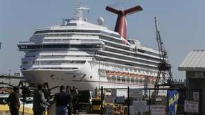 The cruise ship Carnival Triumph is moored at