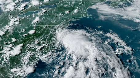 Tropical Storm Fay is shown in a satellite