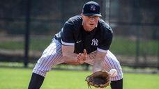 Yankees' INF DJ LeMahieu fielding ball in practice