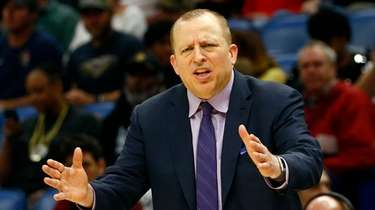 Minnesota Timberwolves head coach Tom Thibodeau reacts to