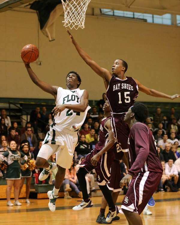 Floyd's Devin Burney goes up for the shot