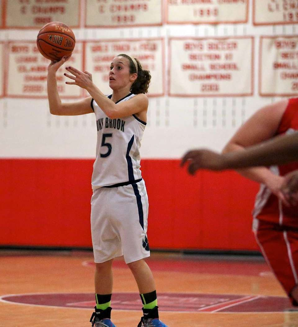Stony Brook's Madison Rylands drains a three-point shot