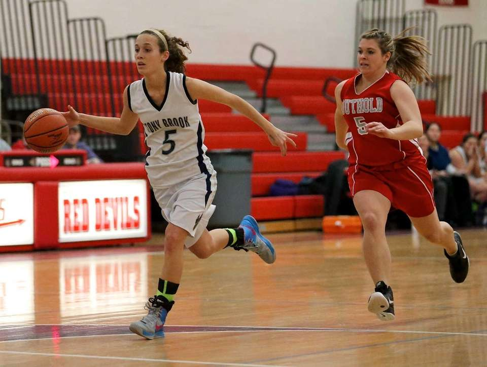 Stony Brook's Madison Rylands steals the ball against