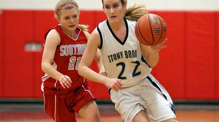 Stony Brook's Allie Damianos drives the outside against