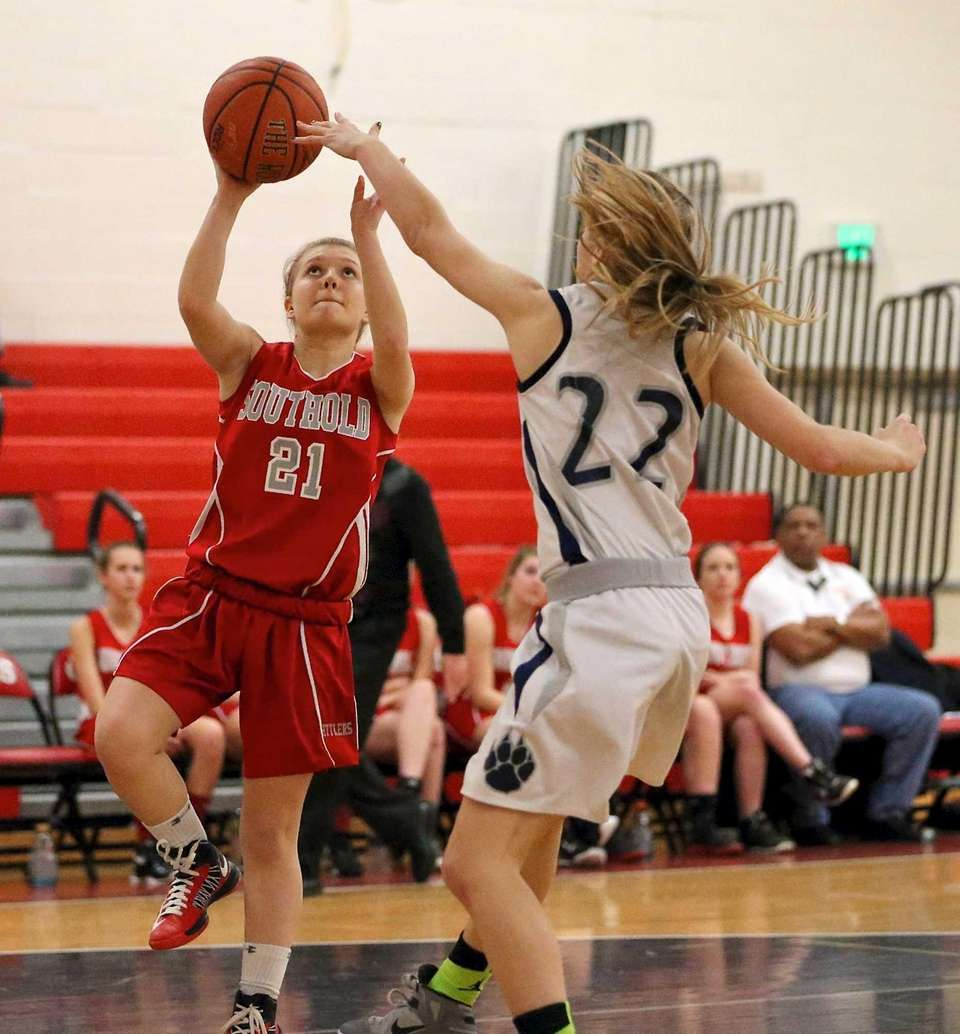 Southold's Justina Babcock tries for the layup against