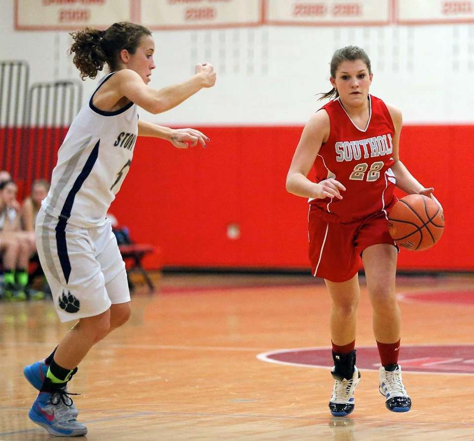 Southold's Sydney Campbell moves through mid court as