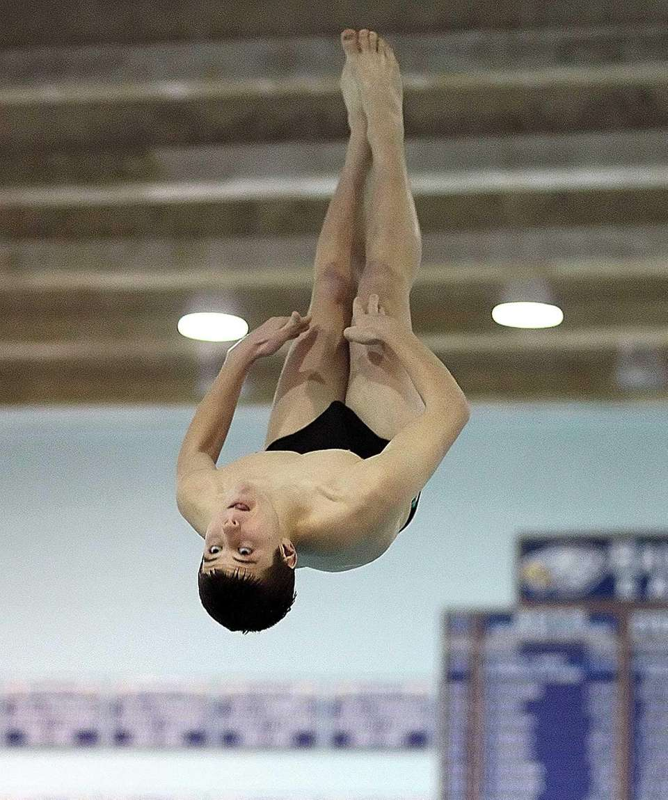 Sayville's Liam Harrison competes at the Suffolk diving